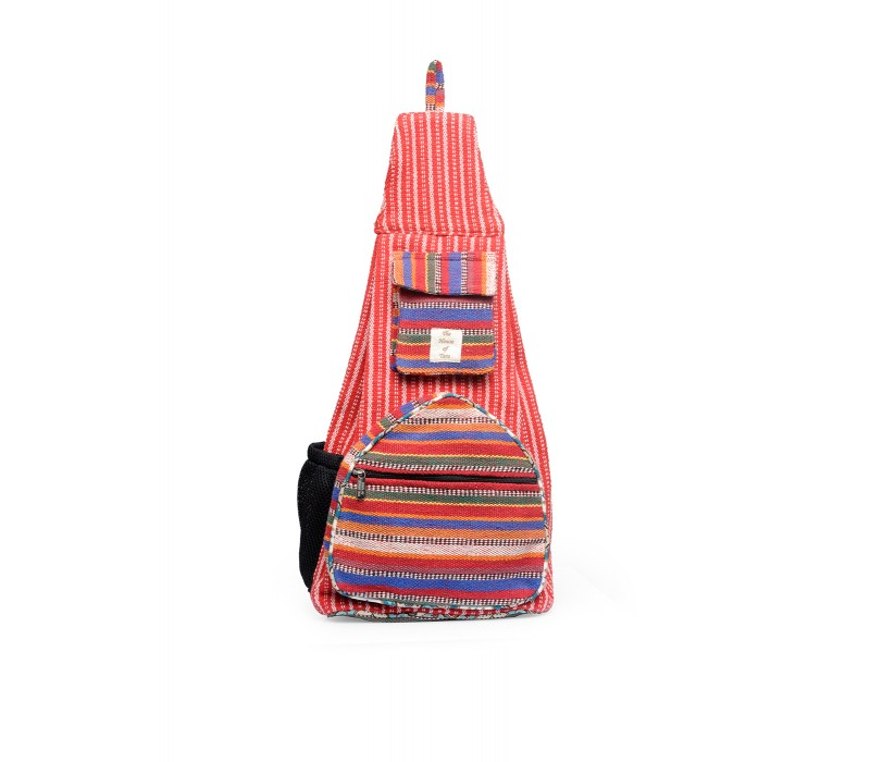 Handloom Fabric Shoulder Bag Backpack HTBP 176