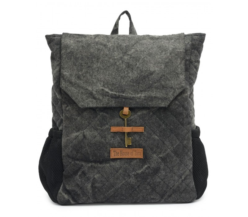 Quilted Canvas Backpack (Ash Grey) HTBP 177