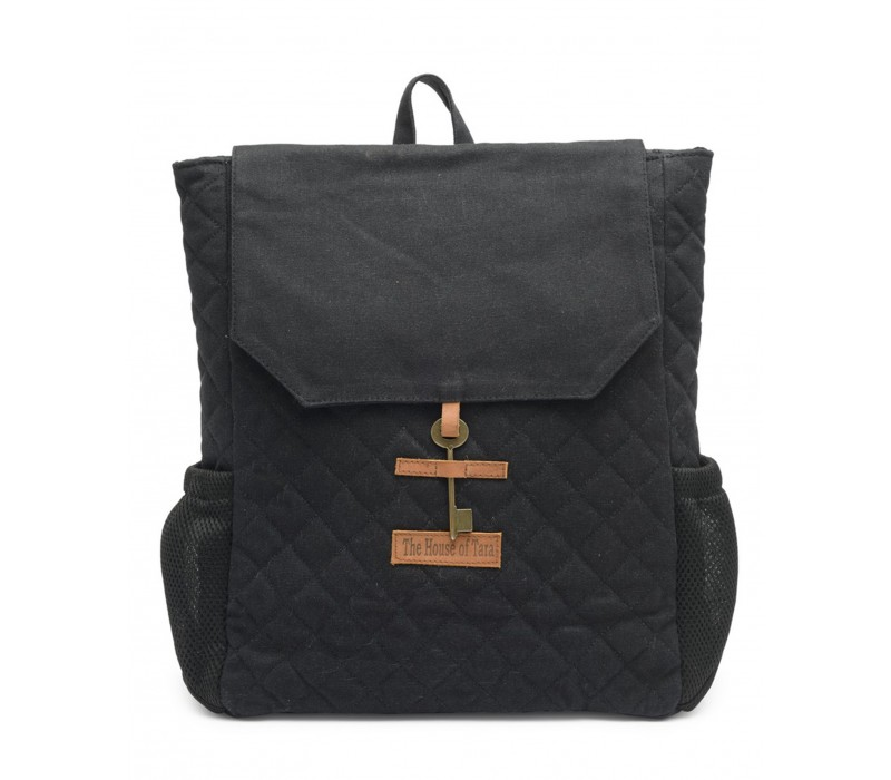 Quilted Canvas Backpack (Raven Black) HTBP 178