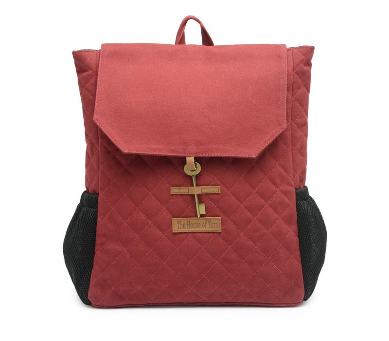 Quilted Canvas Backpack (Tibetan Red) HTBP 181