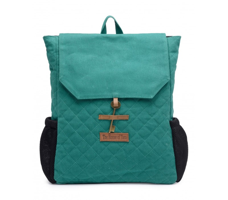Quilted Canvas Backpack (Teal) HTBP 183