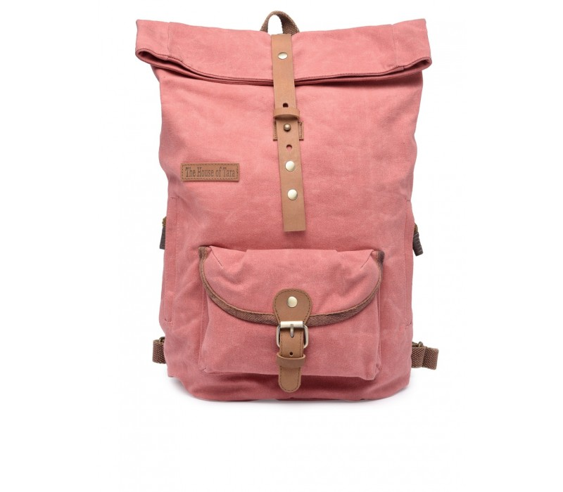Canvas Day Backpack (Coral Pink) HTBP 190