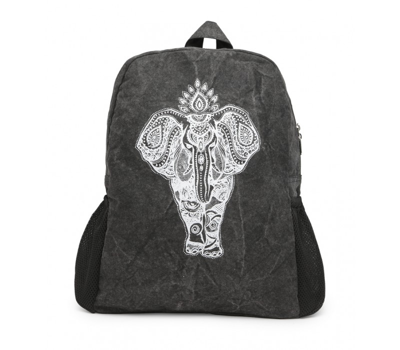 Motif Print Canvas Backpack (HTBP 212) Ash Grey