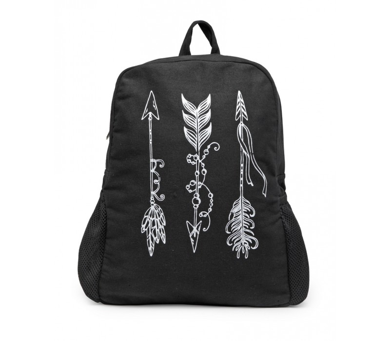 Motif Print Canvas Backpack (HTBP 217) Black