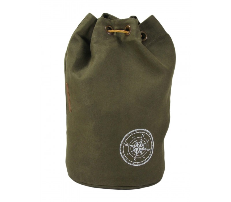 Wax Coated Cotton Canvas Backpack (Olive Green)