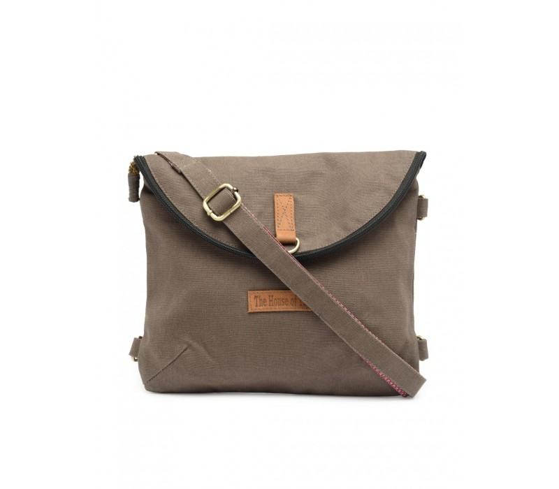 Canvas Backpack and Crossbody Bag (Taupe Grey - HTBS 017)