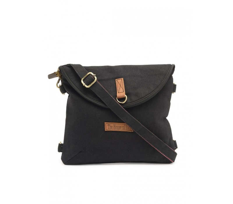 Canvas Backpack and Crossbody Bag (Raven Black)