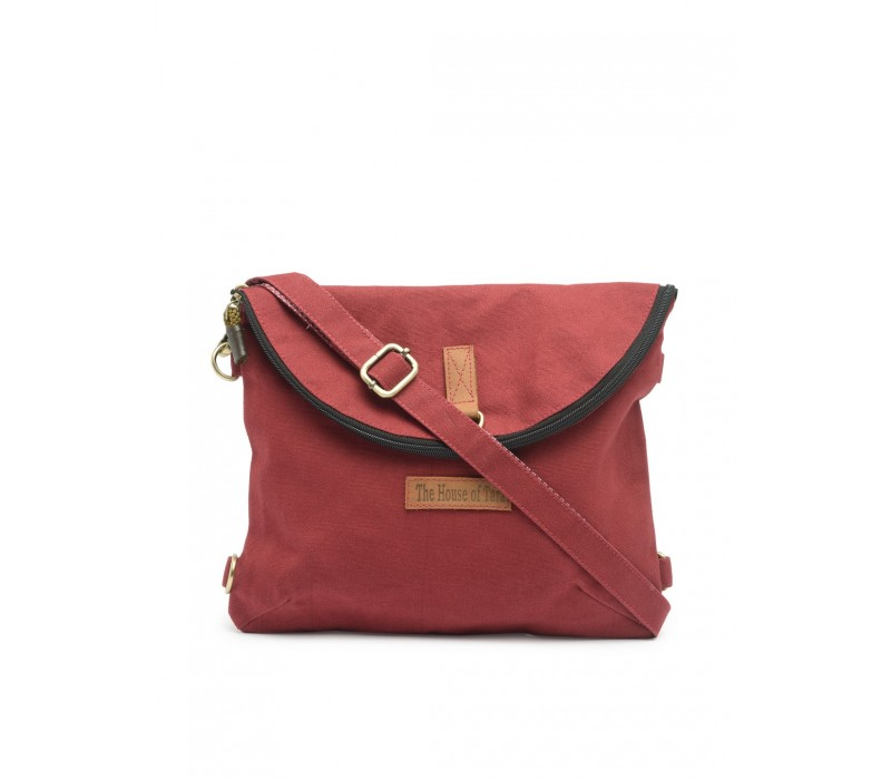 Canvas Backpack and Crossbody Bag (Tibetan Red)