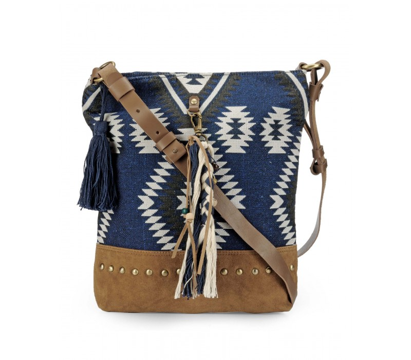 Cross Body Bag in Leather and Woven Fabric (Indigo & Tan)