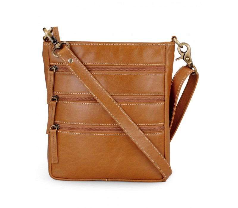 Cross Body Messenger Bag in Leather (Tan)