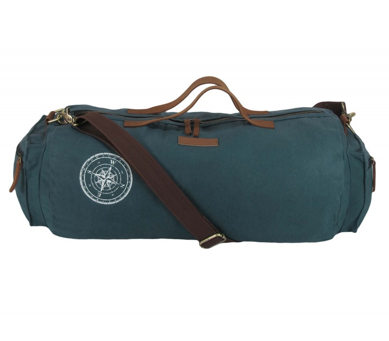 Waxed Canvas Duffle/Gym Bag (Combat Blue)