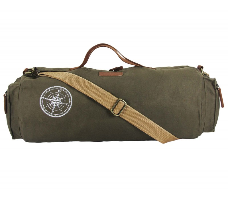 Waxed Canvas Duffle/Gym Bag (Olive Green)