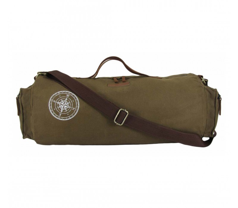 Waxed Canvas Duffle/Gym Bag (Khaki - HTD 103)