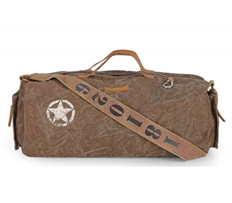 Distress Finish Canvas Duffle/Gym Bag (Acorn Brown)