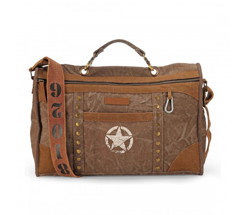 Distress Finish Studded Duffle Bag (Acorn Brown)