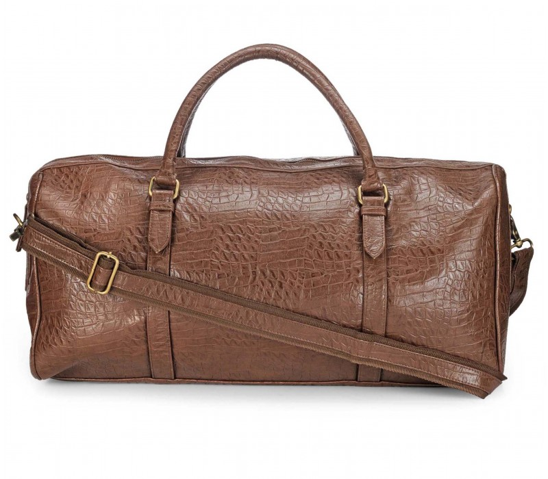 Duffle in Crocodile Finish Faux Leather (Cocoa Brown)