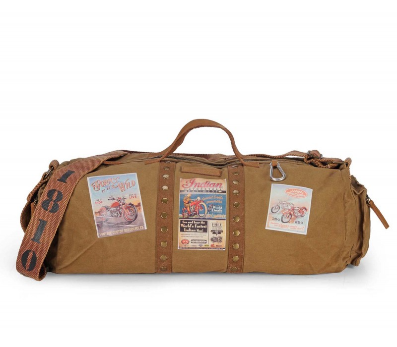 Vintage Travel/Gym/ Duffle Bag (Khaki - HTD 123)