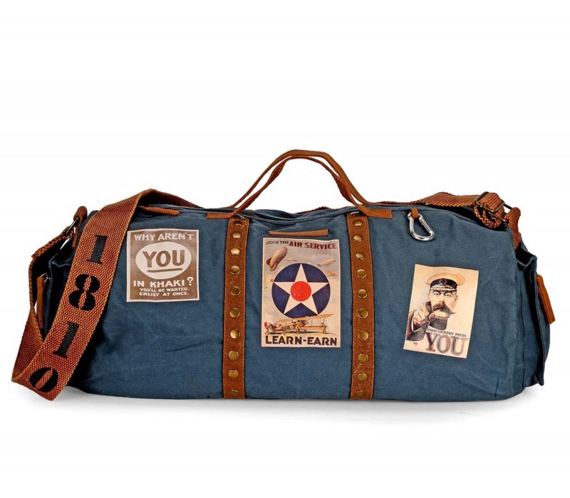 Vintage Travel/Gym/ Duffle Bag (Combat Blue)