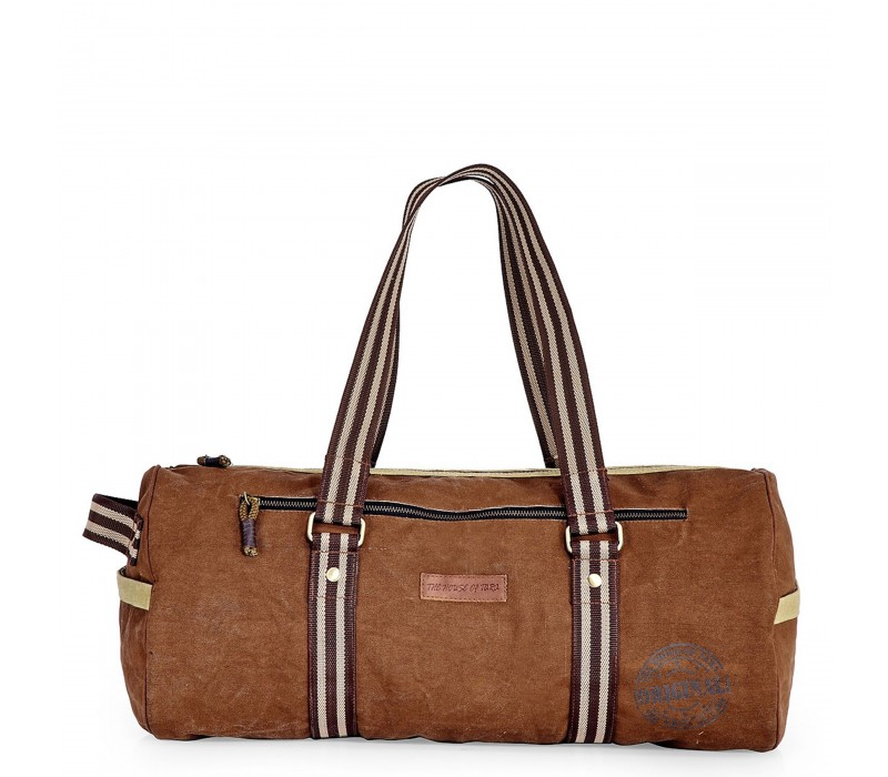 Distress Finish Canvas Duffle Bag  ( Earth Brown)