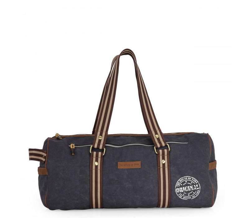 Distress Finish Canvas Duffle Bag  (Midnight Blue)