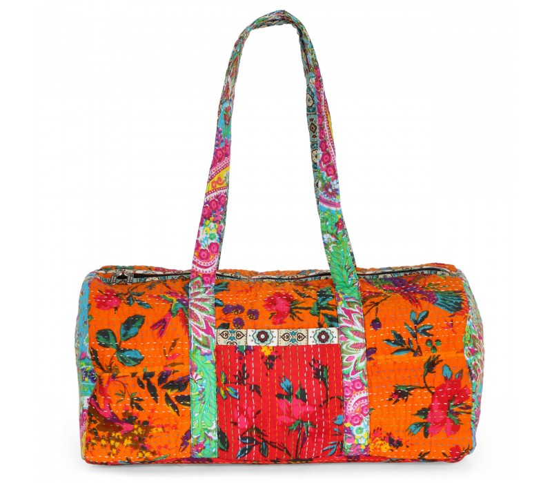 Vintage Fabric Patchwork Duffle Bag HTD 130