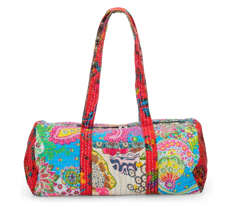 Vintage Fabric Patchwork Duffle Bag HTD 131
