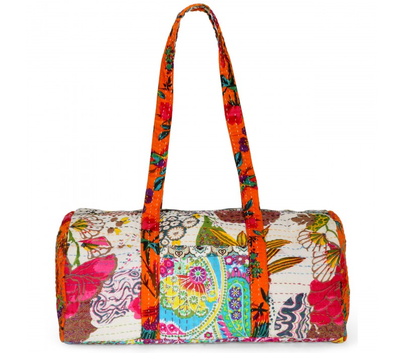 Vintage Fabric Patchwork Duffle Bag HTD 133