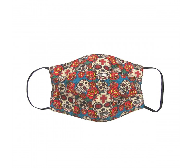 Red Blue Three Layer Woven Fabric Virus Protection Washable Face Mask with Printed Design for Men, Women and Kids