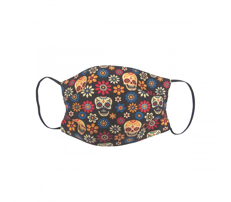 Multicolour Black Three Layer Woven Fabric Virus Protection Washable Face Mask with Printed Design for Men, Women and Kids