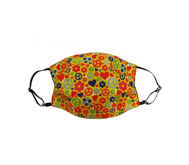 Yellow Multicolour Three Layer Woven Fabric Outdoor Protection Reusable Face Mask with Printed Design for Men and Women