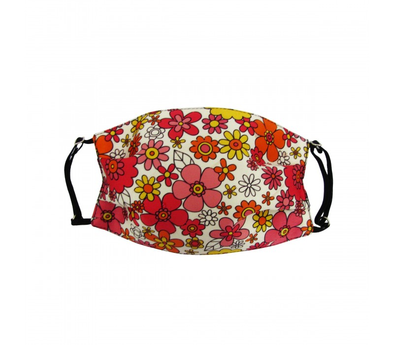 Pale Red White Three Layer Woven Fabric Outdoor Protection Reusable Face Mask with Printed Design for Men and Women