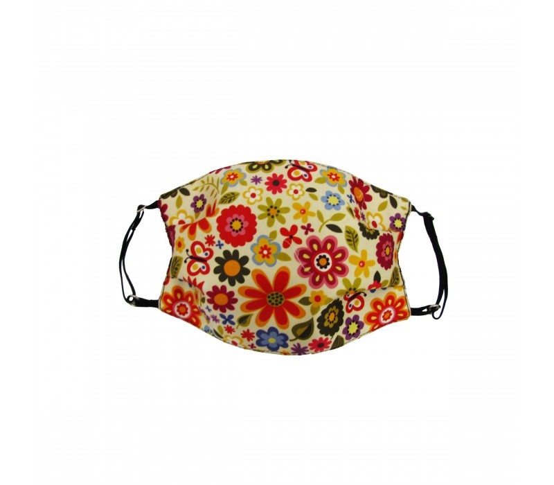 Pale Yellow Multicolour Three Layer Woven Fabric Outdoor Protection Reusable Face Mask with Printed Design for Men and Women