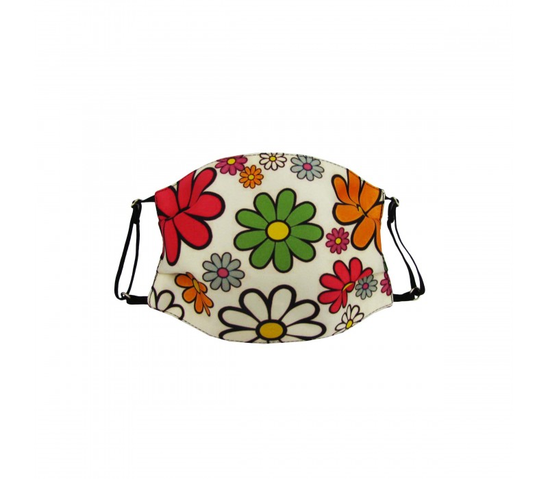 Floral Multicolour Three Layer Woven Fabric Outdoor Protection Reusable Face Mask with Printed Design for Men and Women