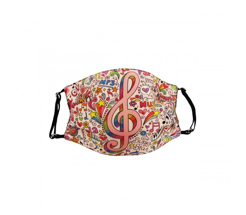 Pink Multicolour Three Layer Woven Fabric Outdoor Protection Reusable Face Mask with Printed Design for Men and Women