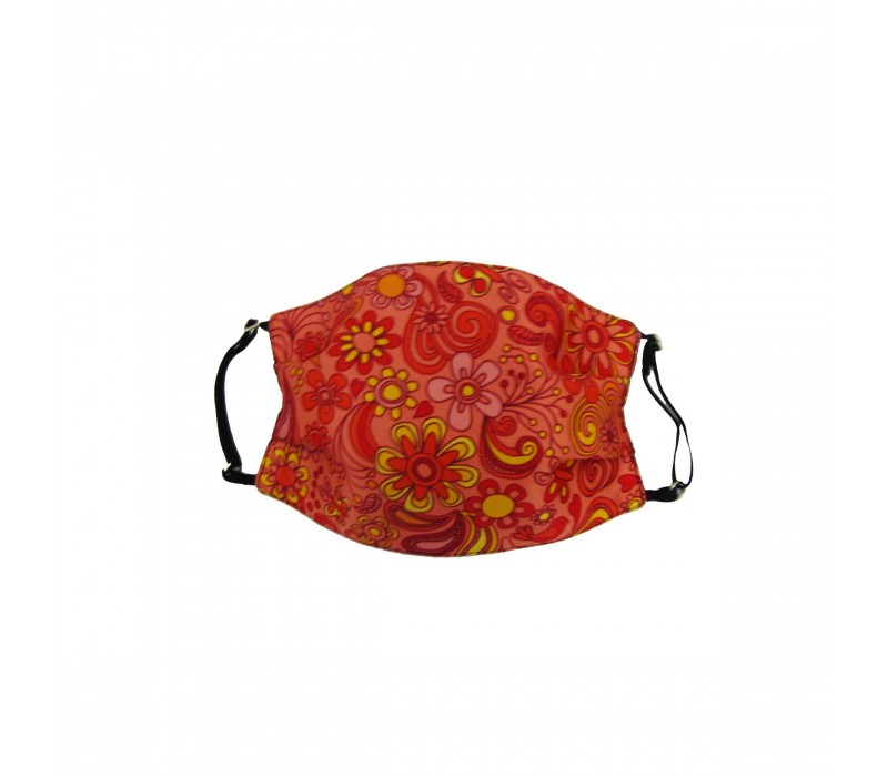 Red Peach Multi Three Layer Woven Fabric Outdoor Protection Reusable Face Mask with Printed Design for Men and Women