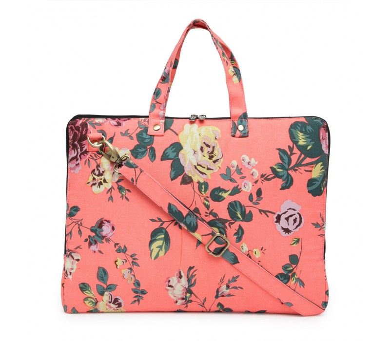 Vibrant Print Cotton Canvas Slim Laptop Bag (HTLB 074)