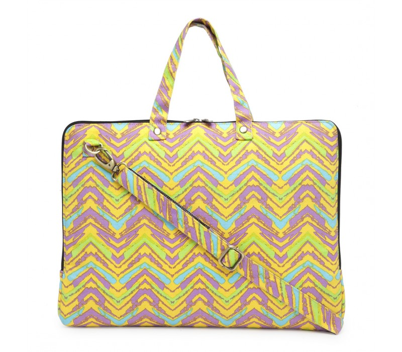 Vibrant Print Cotton Canvas Slim Laptop Bag (HTLB 075)