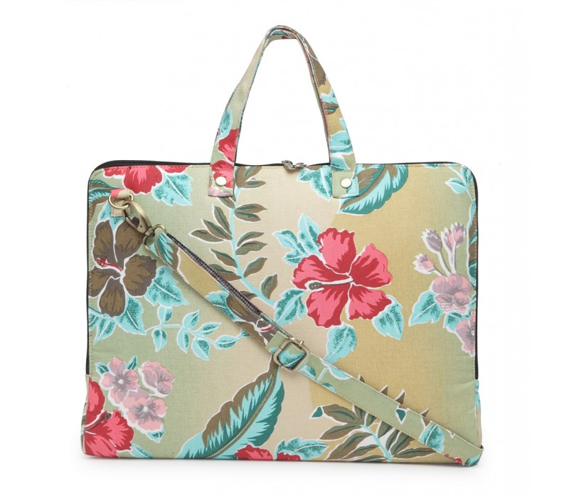 Vibrant Print Cotton Canvas Slim Laptop Bag (HTLB 076)