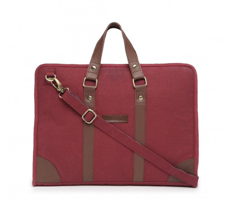 Cotton Canvas Slim Laptop Bag (Tibetan Red)