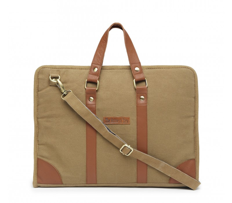 Cotton Canvas Slim Laptop Bag (Khaki)