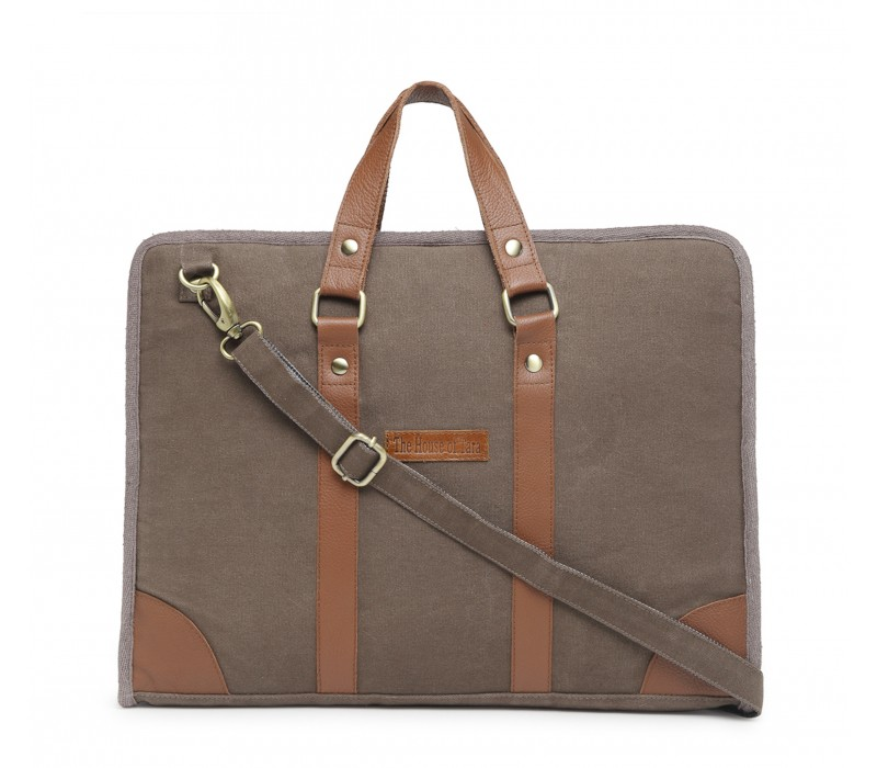 Cotton Canvas Slim Laptop Bag (Fossil Grey)