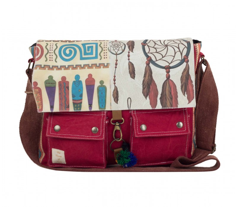 Printed Canvas Messenger Bag