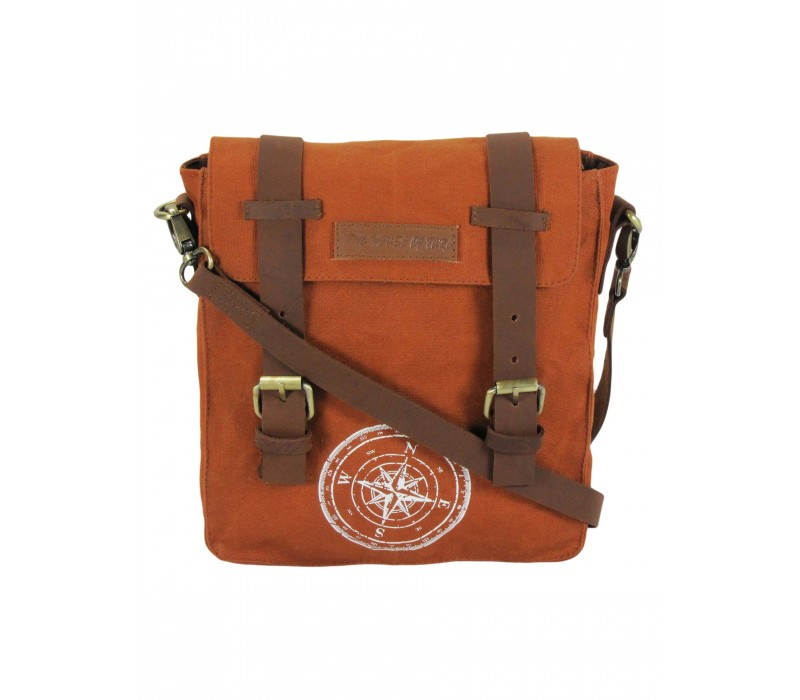 Wax Coated Cotton Canvas Messenger Bag (Rust)