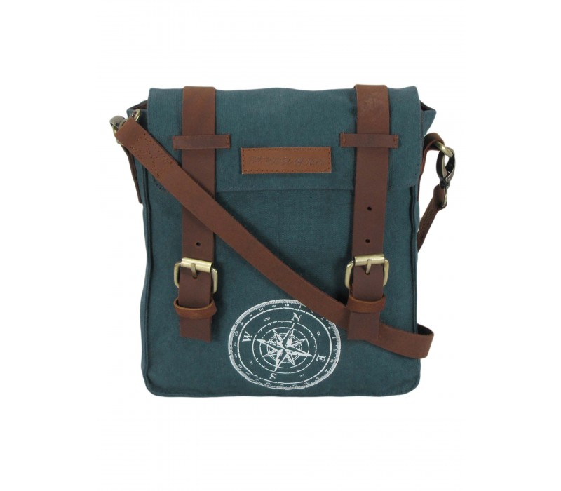 Wax Coated Cotton Canvas Messenger Bag (Combat Blue)