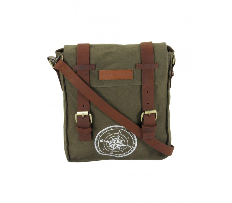 Wax Coated Cotton Canvas Messenger Bag (Olive Green)