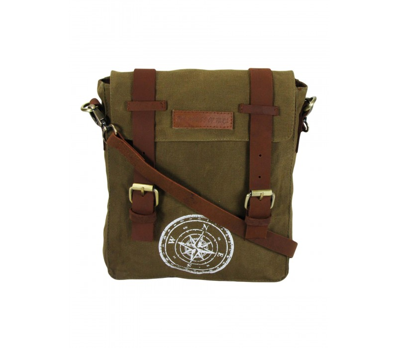 Wax Coated Cotton Canvas Messenger Bag (Khaki)