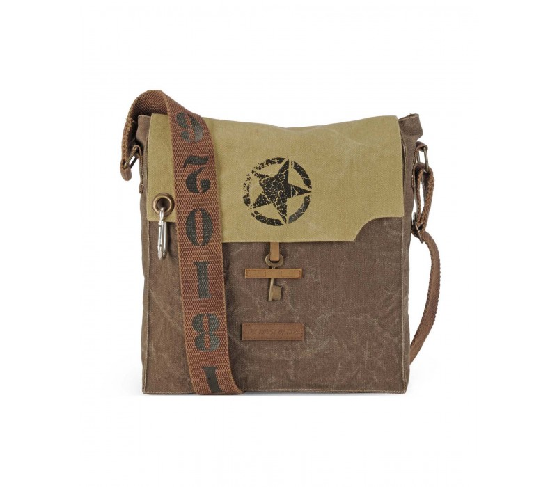 Canvas Messenger Bag (Desert Storm & Acorn Brown)
