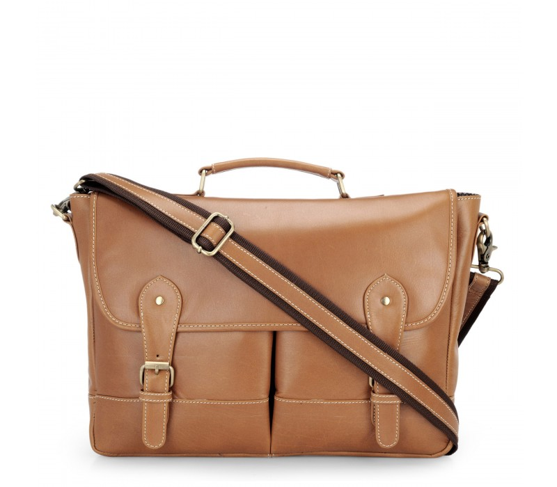 Genuine Leather Laptop and Office Bag (Tan, HTMB 048)