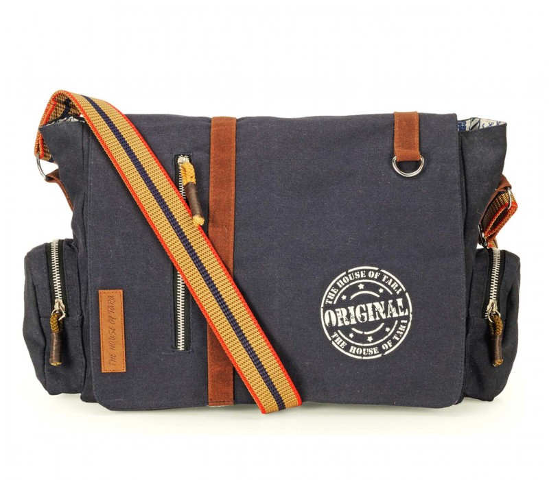 Vintage Canvas Messenger Bag (Midnight Blue).