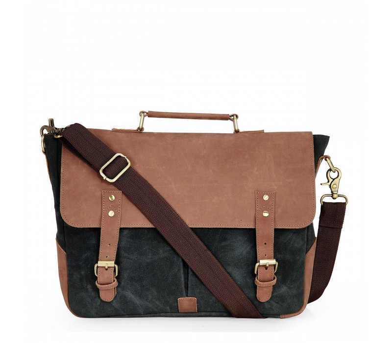 Leather and Canvas Laptop Messenger Bag (Midnight Blue)